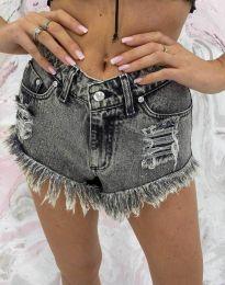 Къси дънкови панталонки в сиво - код 4548