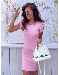 Изчистена рокля в цвят розово - 199