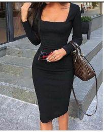 Стилна изчистена рокля по тялото в черно - код 3450