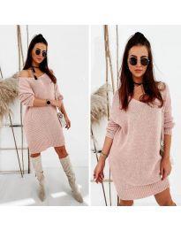 Свободна дамска рокля в розово - код 6457