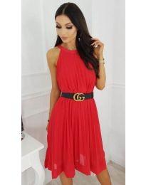 Червена плисирана рокля - код 873