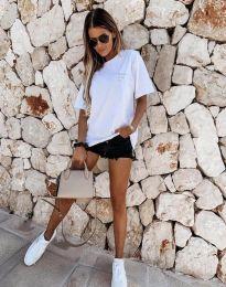 Дамска тениска в бяло с надпис - код 5398
