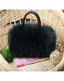Дамска чанта с пух в черно - код B154