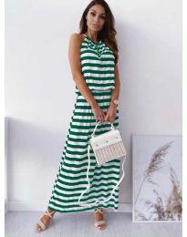 Дълга рокля на зелено райе - код 1515