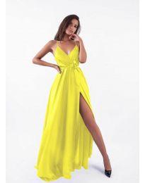 Дълга рокля с цепка в  жълто - код 5500