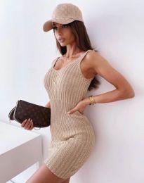 Дамска рокля в цвят капучино - 10088
