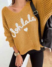 Дамски пуловер с надпис в цвят горчица - код 1834