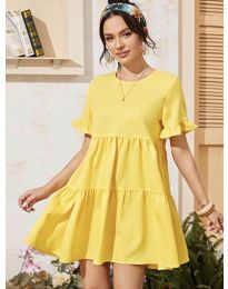 Свободна дамска рокля в жълто - код 0033