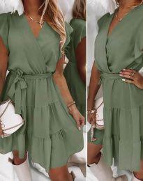 Дамска рокля в масленозелено - код 2345