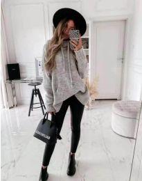 Дамски пуловер в сиво - код 7333