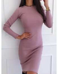 Изчистена рокля по тялото в цвят пудра - код 3524