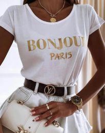 Атрактивна дамска тениска в бяло - код 0777