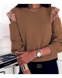 Атрактивна дамска блуза в кафяво - код 1539