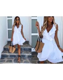 Екстравагантна рокля в бяло - код 7799