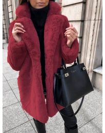 Дълго дамско палто в цвят бордо - код 187