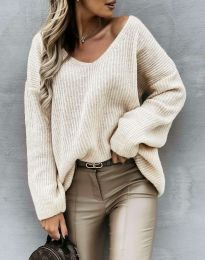 Дамски пуловер в бежово - код 0866