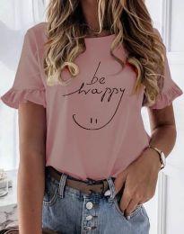 Дамска тениска в цвят пудра с надпис - код 1038