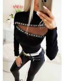 Блуза с ефектна предна част в черно - код 3441