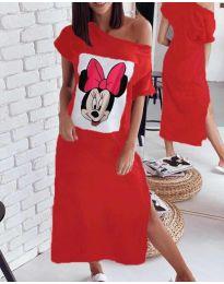 Свободна рокля в червено с принт - код 6656