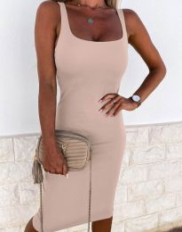 Елегантна рокля в бежово - код 8899