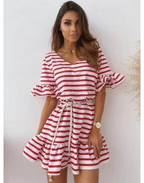 Свободна дамска рокля на райе в бяло и червено - код 444