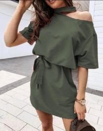 Дамска рокля в масленозелено - код 0256