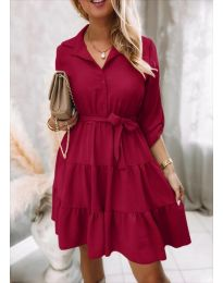 Дамска рокля в цвят бордо - код 6970