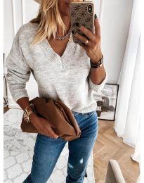 Дамски пуловер в сиво - код 6012
