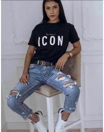Черна тениска с принт - код 903