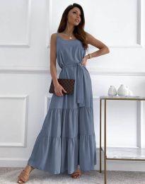 Дълга дамска рокля в синьо - код 2578