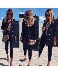 Стилен комплект от сако и панталон в тъмно синьо - код 172