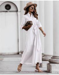 Изчистена рокля в бяло - код 0900