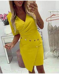 Ефектна рокля с капси в жълто - код 415