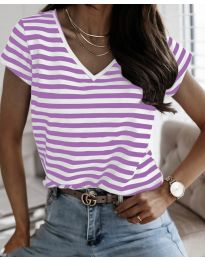 Дамска тениска на райе в лилаво - код 690