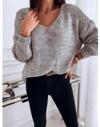 Плетена дамска блуза в сиво - код 112