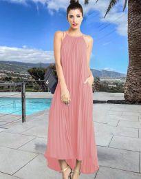 Дълга лятна рокля в цвят пудра - код 6999