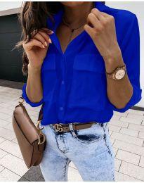 Изчистена дамска риза в тъмно синьо - код 6148