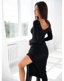 Дамска рокля в черно с цепка - код 12070
