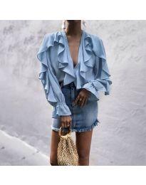 Ефектна блуза с къдрички в синьо - код 300
