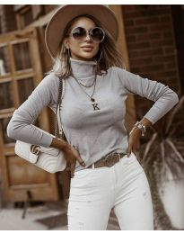 Дамска блуза с поло яка в светлосиво - код 8861
