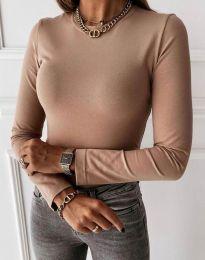 Изчистена дамска блуза в бежово - код 4863