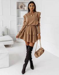 Кокетна дамска рокля в цвят капучино - код 12042