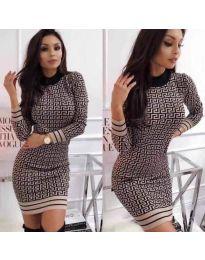 Дамска рокля с ефектен десен - код  3292 - 1