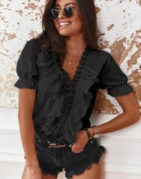 Ефектна дамска блуза в черно - код 4730