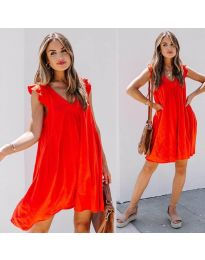 Свободна изчистена рокля в червено - код 5090