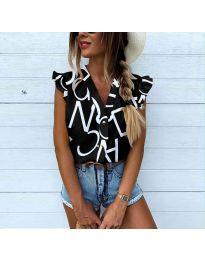Дамска риза в черно с атрактивен десен - код 544