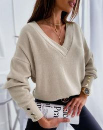 Изчистена дамска блуза в бежово - код 5236