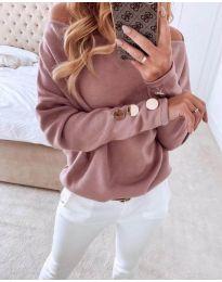 Изчистена дамска блуза в цвят пудра - код 353 - 1