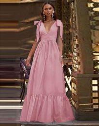 Дълга рокля в цвят пудра - код 2743