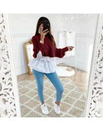 Блуза с имитация на риза в бордо - код 561